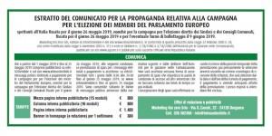 Estratto del comunicato per la propaganda elettorale