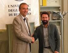 Da sinistra: Remo Morzenti Pellegrini, rettore dell'Università degli Studi di Bergamo; Paolo Franco, presidente di Uniacque SpA