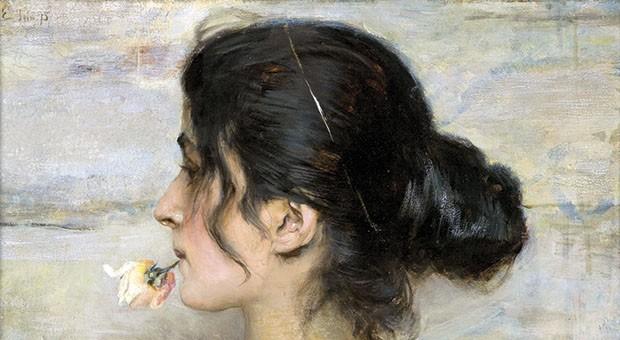 Ettore Tito, Con la rosa tra le labbra. Collezione privata.