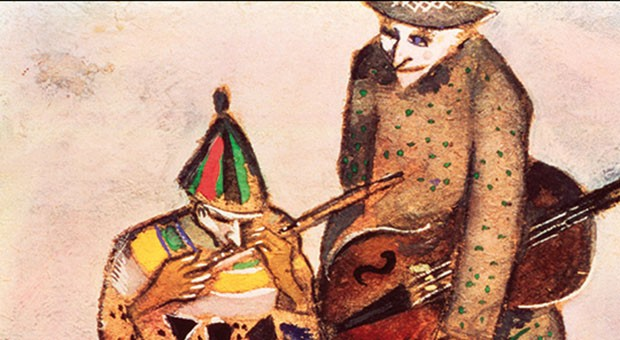 Marc Chagall - I musicanti, ca 1911 tempera su carta grigia, 18,5 x 18,7 cm Galleria di Stato Tretjakov di Mosca © The State Tretyakov Gallery, Moscow, Russia © Chagall ®, by SIAE 2018